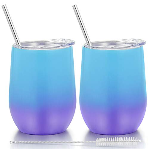 Fungun 12 oz Stemless Wine Tumbler, Stainless Steel Wine Glass, Insulated Tumbler with Lids for Wine, Coffee, Drinks, Cocktails, 2 Sets Including 2 Pieces Straws and Brush (Colorful2)