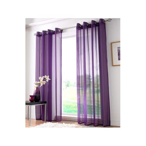 Purple Eyelet Curtains Amazon Co Uk