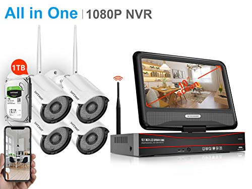 ([1080P NVR&8CH Expandable] Security Camera System Wireless,Safevant 8CH 1080P Security Camera System(1TB Hard Drive),4PCS 960P Inddor/Outdoor IP66 Wireless Security Cameras,Plug&Play,NO Monthly Fee)