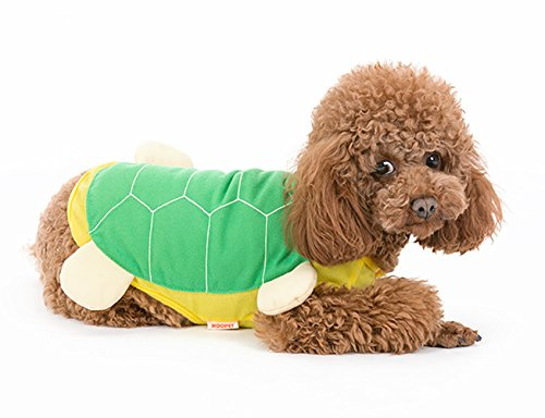 Tortoise Dog Costumes (MaruPet Autumn/Winter Overall Tortoise Costume Fleece Warm Four-leg Jumpsuit Cosplay Outfit Custome for Teddy, Pug, Chihuahua, Shih Tzu, Yorkshire Terriers, Papillon Green XS)