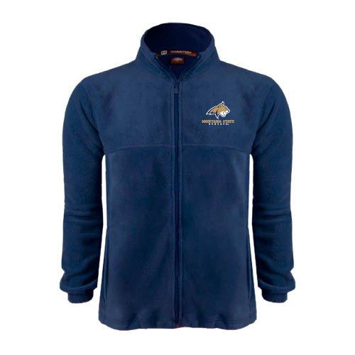 Montana State Fleece Full Zip Navy Jacket Bobcat Head w// Montana State Bobcats Stacked