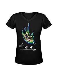 Women's Aenima Eye Tool Band Slim Fit V-neck T-shirt By Eurpeck