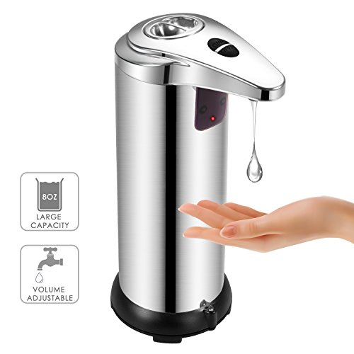Soap Dispenser, BAFULAN Automatic Hand 280ml Sensor Soap Dispenser, Stainless Steel Hands-Free with Infrared Sensor Liquid Soap Dispenser, Waterproof Designed for Bathroom Kitchen Powered by 4 PCS AAA by BAFULAN