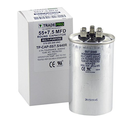 TradePro Replacement Capacitor 55 + 7.5 mfd Round Run Start Multi-Purpose Replace 370 440 - Start Capacitor Wiring