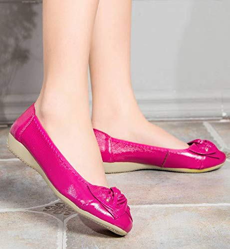 Genuine Working Leather Women's Loafers Slip Flats Fuchsia Fangsto Shoes Ons 5CqAawEx