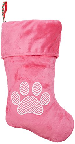 - Mirage Pet Products Chevron Paw Screen Print Velvet Christmas Stocking, Size 18, Pink