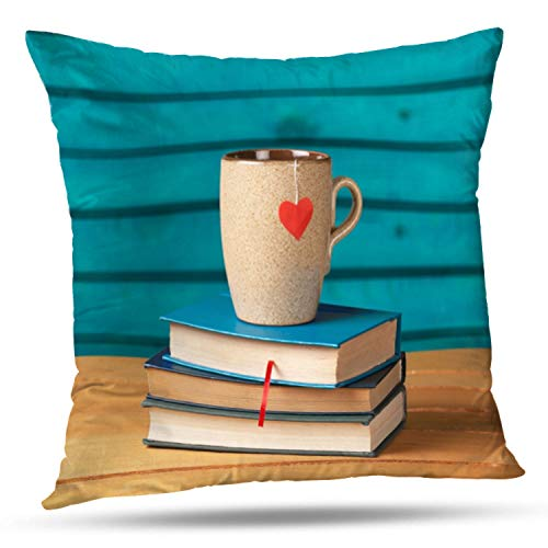 WAYATO Decorative Pillow Covers Book Heart Cup Love Brochure Card Checked Coffee Drink Holiday Kitchen Layout Red Retro Double-Sided Pattern Invisible Zipper Applies to Living Room -