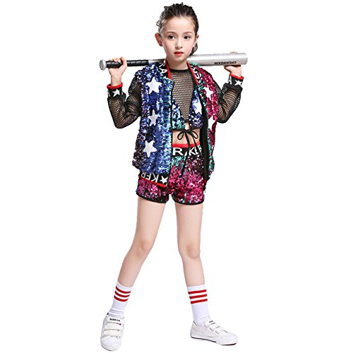 6c2d0a5094c7 Lolanta Kids Sparkle Jazz Dance Costume Girls Sequin Hip Hop Clothing Set