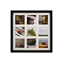 BorderTrends Echo Square Multi Opening Collage Photo Frame for 4x4-Inch Photos, Black with White Mat