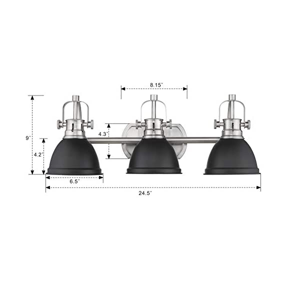 Emliviar 3-Light Bathroom Vanity Light Fixture, Black Finish with Metal Shade, 4054H-A - Upgrade version modern 3 light bath vanity light fixture features sturdy metal construction in black finish Easy installation. Includes all mounting hardware. Perfect for your bathroom, dressing table, mirror cabinets, vanity table and art display etc. Hard wired. Requires 3 x E26 base bulb(Max.60W). Bulb NOT included - bathroom-lights, bathroom-fixtures-hardware, bathroom - 41DucYLsZWL. SS570  -