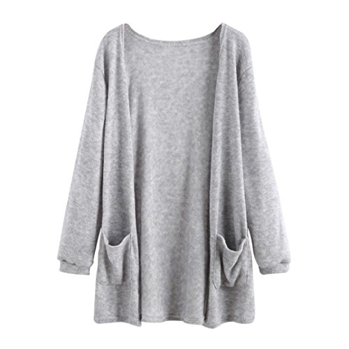 Price comparison product image Newest Women Autumn Long Sleeve Tops Loose Long Cardigan Coat Jacket Outwear (Gray, XL)