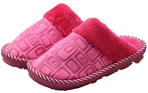 Dsmor Womens Impression Chaud Pantoufles Chambre Pantoufles Maison Pantoufles Rose