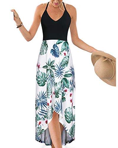 KILIG Womens V Neck Sleeveless Asymmetrical Patchwork Floral Maxi Dresses (Floral-H, XL)