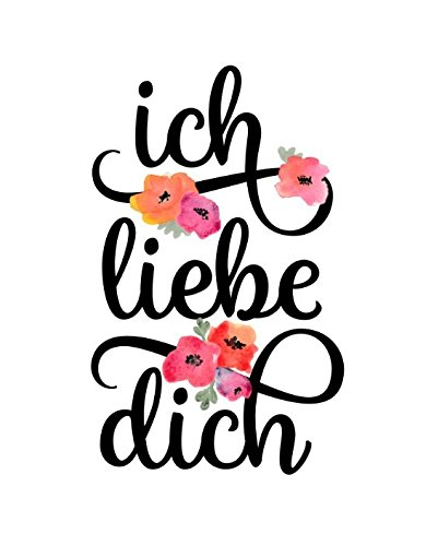 Bingbinge Ich Liebe Dich German I Love You Floral Watercolor Typography Quote Art Print on Canvas - 12