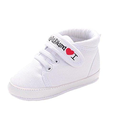Ularmo Schuhe für 0-18 Monate Baby, Weiche Sohle Kleinkind-Schuhe Segeltuch-Turnschuh (11cm(0-6 Monate), Weiß)