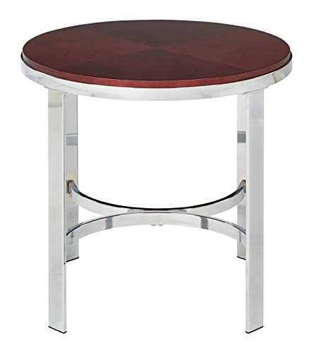 Office Star Alexandria Round End Table in Cherry Finish Top and Chrome Metal Plating Legs