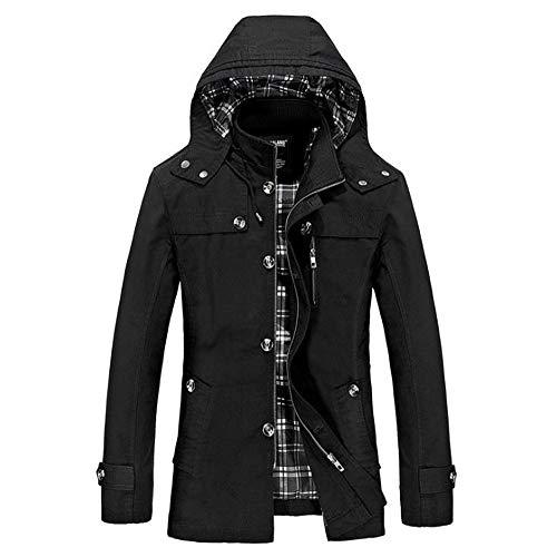 iLXHD Jacket Men's Trench Coat Warm Windbreaker Winter Zip Up Overcoat with - Mens Diablo Wind Jacket