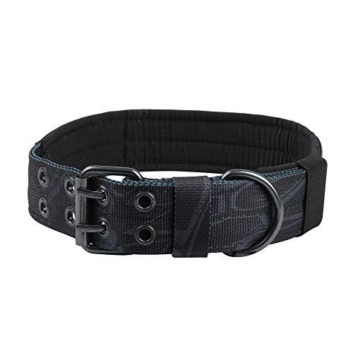 EXCELLENT ELITE SPANKER Nylon Tactical Dog Collar Military Adjustable Training Dog Collar with Double Metal D Ring Buckle(Kryptek ()