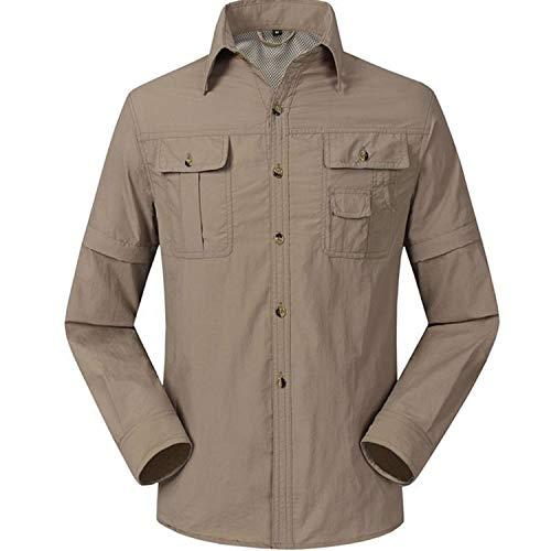 LANBAOSI Men's Quick Dry UV Protection Convertible Trekking Shirt Khaki