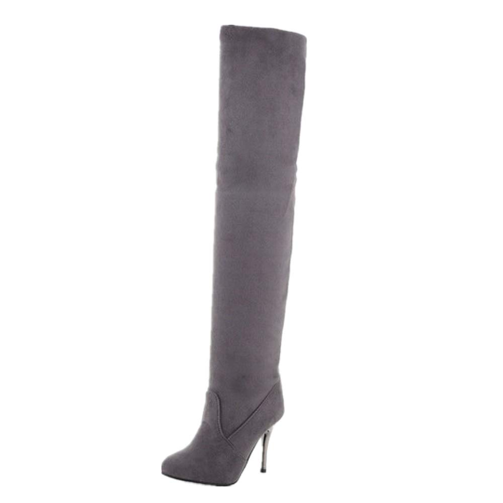 SHANGWU Frauen Super High Ferse Wasserdichte Plattform Sexy Overknee Stiefel Stiefel Stiefel 2018 Herbst Und Winter Spitzen Frauen Stretch Hochhackige Stiefel (Farbe   grau Plus Velvet, Größe   41) 4a8f47