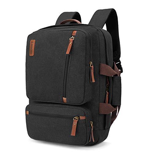 SOCKO Convertible Laptop Backpack Canvas Messenger Bag Shoulder Briefcase Multifunctional Travel Rucksack Hiking Knapsack College Notebook Bag Fits 17.3 Inch Laptops for Men/Women, Black