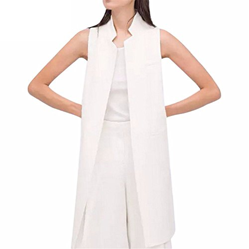 Caseminsto European Fashion Women White Black Long Vest Coat Mandarin Collar Waistcoat Sleeveless Jacket White Xl by Caseminsto