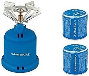 Hornillo de gas para camping 206 S Stove Campinga. Potencia 1,230 W. Peso 280 gramos + 2 cartuchos C206 GLS de 190 gramos.