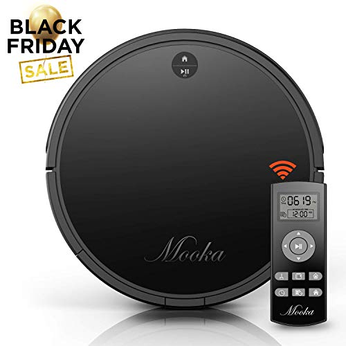Robot Vacuum Cleaner, Mooka Auto Robotic Vacuum Cleaner with Powerful Suction, Self-Charging, Ultra Quiet, 2600mAH Battery for 2 hours, Suits Wooden/Tiled Floors & Light Carpets [Updated 2018 Version]