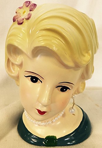 Lady Head Vase Glamour Girl with Purple Floral with Jewels