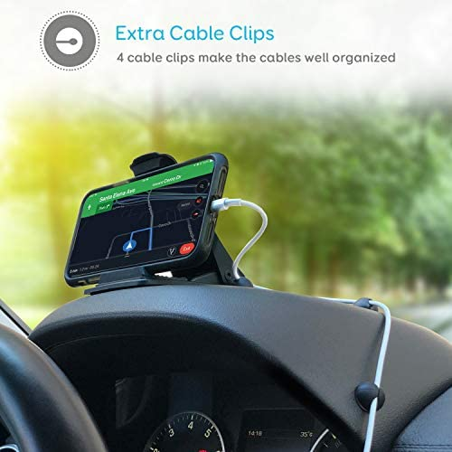 Samsung Galaxy S9//S8//S7 Clip GPS//Cell Phone Holder for Dashboard Cell Phone Holder for Car Dashboard GPS Holder Mounting in Vehicle Anti-Slip Desk Phone Stand for iPhone Xs//8//7//6s Plus Maxcio Car Phone Mount with 4 Cable Clip Organizer