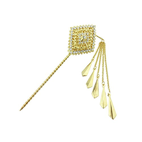 Siwalai Thai Traditional Gold Plated Clear Crystals Hair Pin 6 Inches