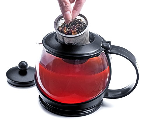 Modern Innovations Glass Teapot With Infuser and Cozy, 40oz - Modern Teapot with Infuser and Washable Cozy - An Excellent Heat Resistant Glass Teapot Perfect Serving Loose Leaf Tea