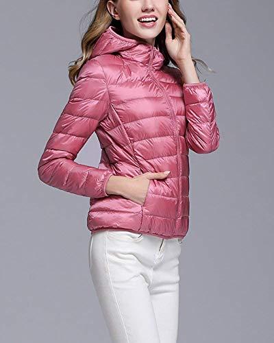 Outwear Incappucciato Colore Di Inverno Donne Packable Jack Giù Casuale Rosa Lunga Leggero Bicchierino Manica USxqdz7