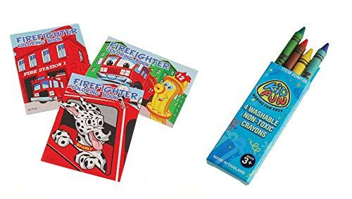 USToy 24 Piece Firefighter Fireman Coloring Book & Crayons -