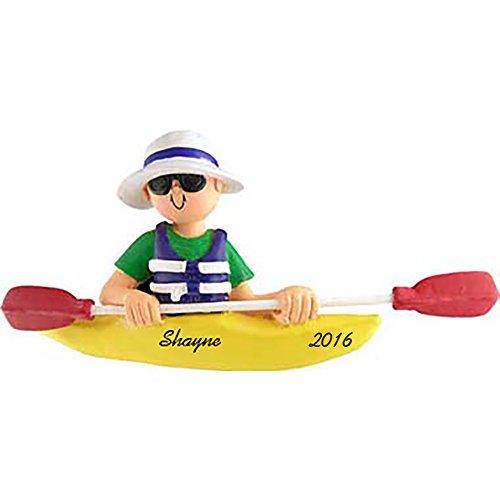 Kayak Boy Personalized Christmas Ornament