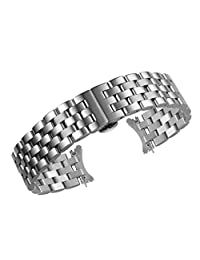 20mm High-End Curved End Metal Watch Bands Replacements Silver Plated Quality Solid Stainless Steel