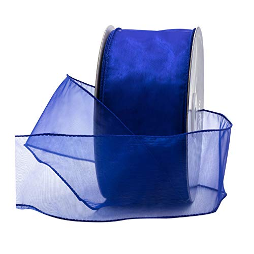 (Royal Blue Organza Wired Sheer Ribbon 2.75