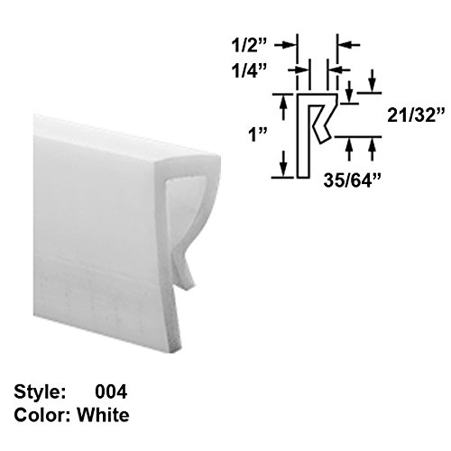 High-Temperature PTFE Plastic J-Channel Push-On Trim, Style 004 - Ht. 1'' x Wd. 1/2'' - White - 8 ft long by Gordon Glass Co.