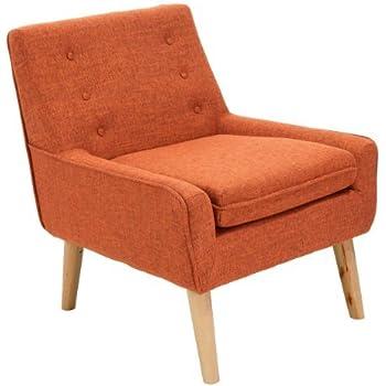 Amazon Com Brockston Orange Fabric Retro Accent Chair