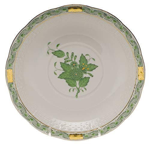 Herend Chinese Bouquet Green Porcelain Cream Soup Saucer