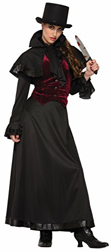 Jack The Ripper Costume Woman (Forum Men's Jackie The Ripper Capelette and Costume, Black/Red, Std)