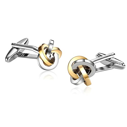 MoAndy Stainless Steel Mens Cuff Links Ball Knot Shape Silver Gold