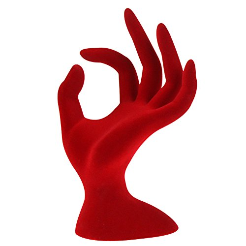 diffstyle Velvet Mannequin Hand Jewelry Display Stand Holder Necklace Bracelet Ring Watch Rack for Home Organization (Red Velvet)