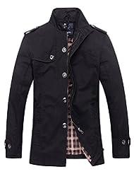 Wantdo Men's Cotton Stand Collar Windbreaker Jacket US X-Large Black
