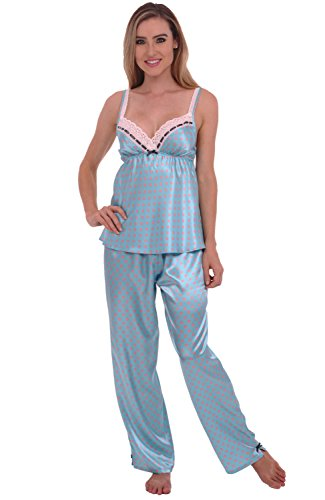Alexander Del Rossa Rossa Womens Satin Pajamas, Long Lace Trim Cami Top PJ Set, 2X Blue With Pink Dots (A0776Q092X) (Sleek Lace Trim Cami)