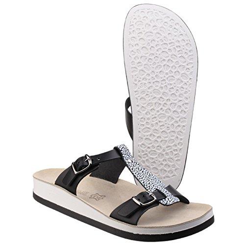 Fantasy Arillas Damen Schuhe Sandalen Sommerschuhe Sommersandalen Damenschuhe Schwarz-Weiss