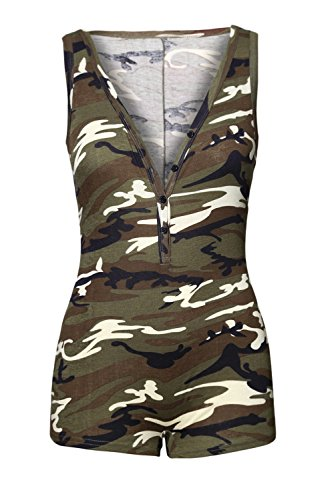 Shawhuwa Sexy Sleeveless Tank Tops Short Romper One Piece Short Catsuit Deep Camo L