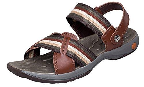Hw-goods Mens Stripe Velcro Antiscivolo Outdoor Sport Sandali Accoglienti 1-marrone
