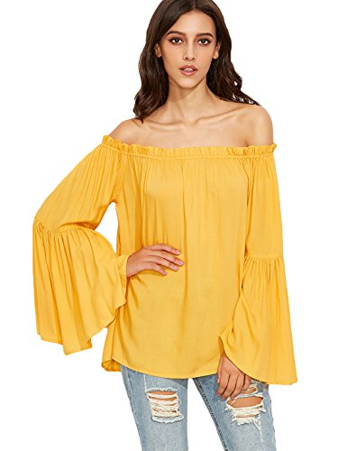 SheIn Women's Off Shoulder Pleated Ruffle Bell Sleeve Blouse Top one-size - Shoulder Ruffle Top One