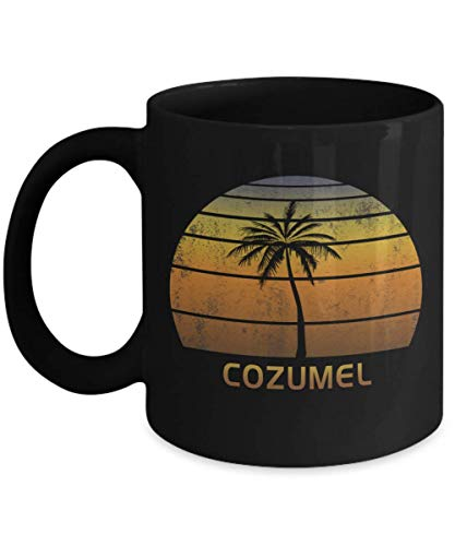 Cozumel Mexico Souvenir Black 11oz Coffee Mug Vintage Tea Cup -